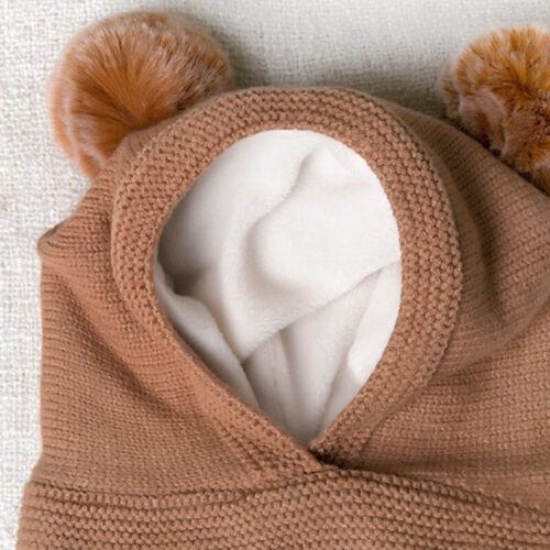 Baby Infant Girl/&Boy Winter Warm Knit Hat Pom Pom Bobble Beanie Cap Scarf Set SP