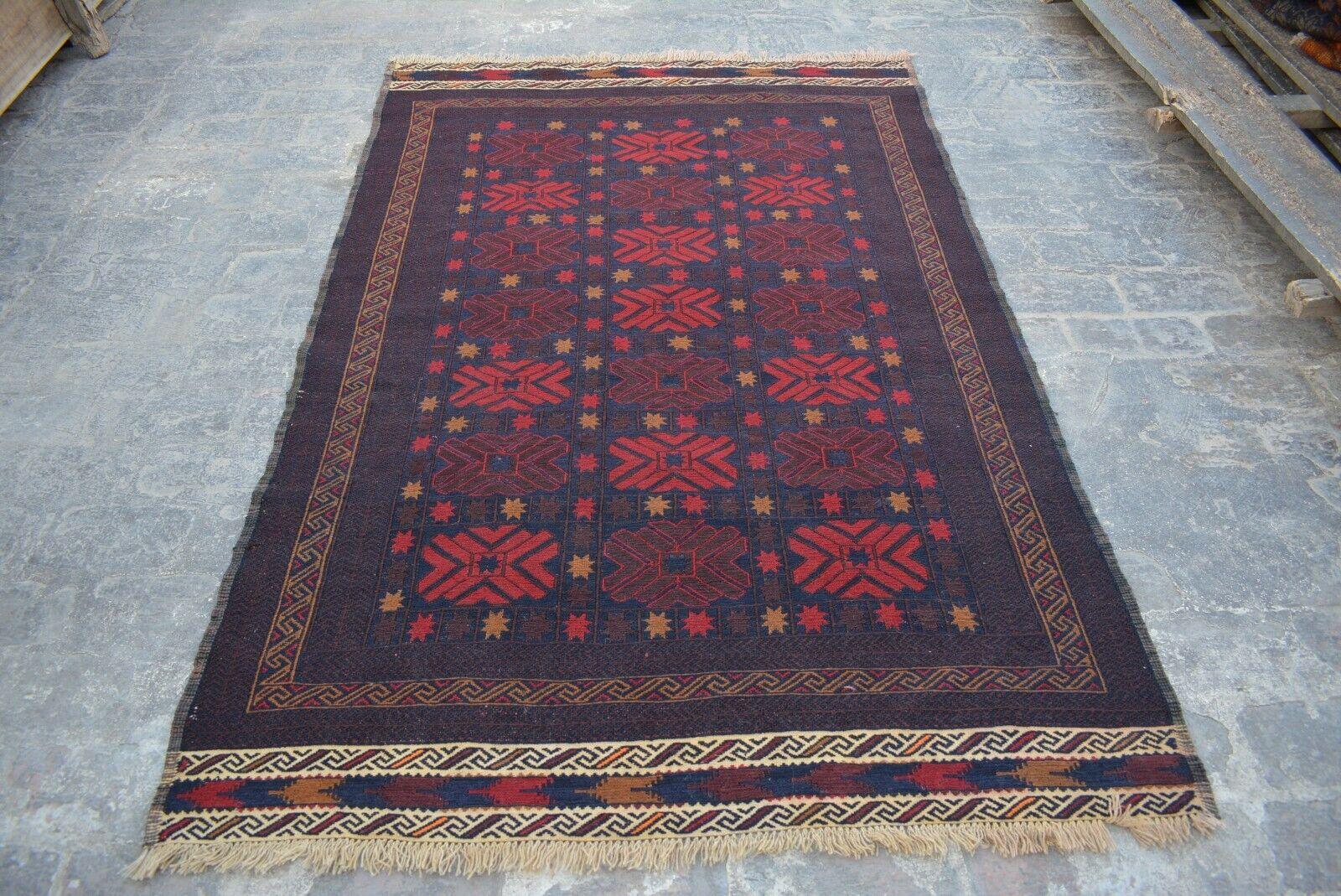 F642 Vintage Handwoven Afghan Tribal Sumik   Turkish Stunning Rug 4'4 x 6'8 Feet