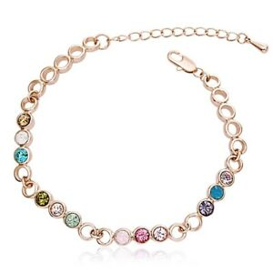 18K-Rose-Gold-Filled-Made-With-Swarovski-Crystal-Round-Colorful-Tennis-Bracelet