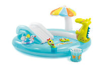 Intex Gator Play Center Inflatable Kiddie Spray Wading Pool with Slide