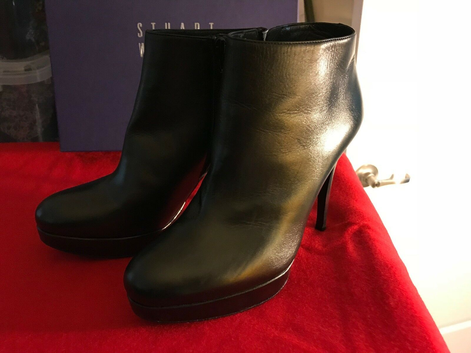 BRAND NEW Stuart Weitzman Black Leather Booties 8.5