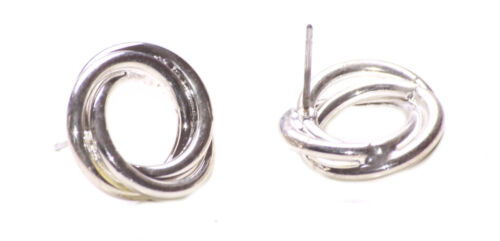 Zx262 Classic /& atemporal-Cromo Redondo Remolino//fácil Pendientes con Pasador Lindo De Metal