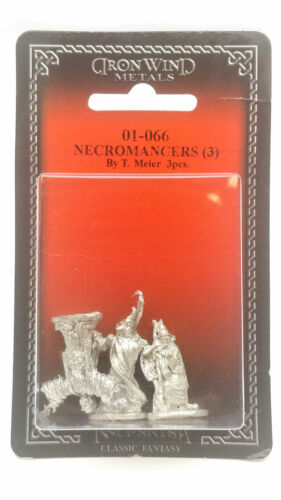 01-066 Unpainted Classic Fantasy Metal Figure Ral Partha Necromancers 3 Pieces