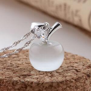 Collier-avec-pendentif-pomme-en-chaine-plaque-d-039-argent-pour-femme-Rose-ou-Blanc
