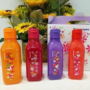 Tupperware Flip Top Stackable Sparkle Square Eco Bottles 500ml - Maroon Colour