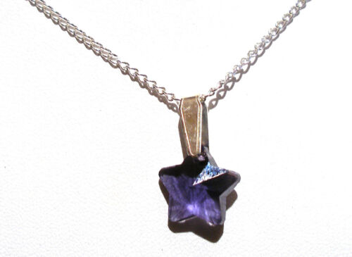 """/'AAA/' GRADE PURPLE CRYSTAL GLASS STAR PENDANT 18/"""" SILVER PLATED CHAIN"""