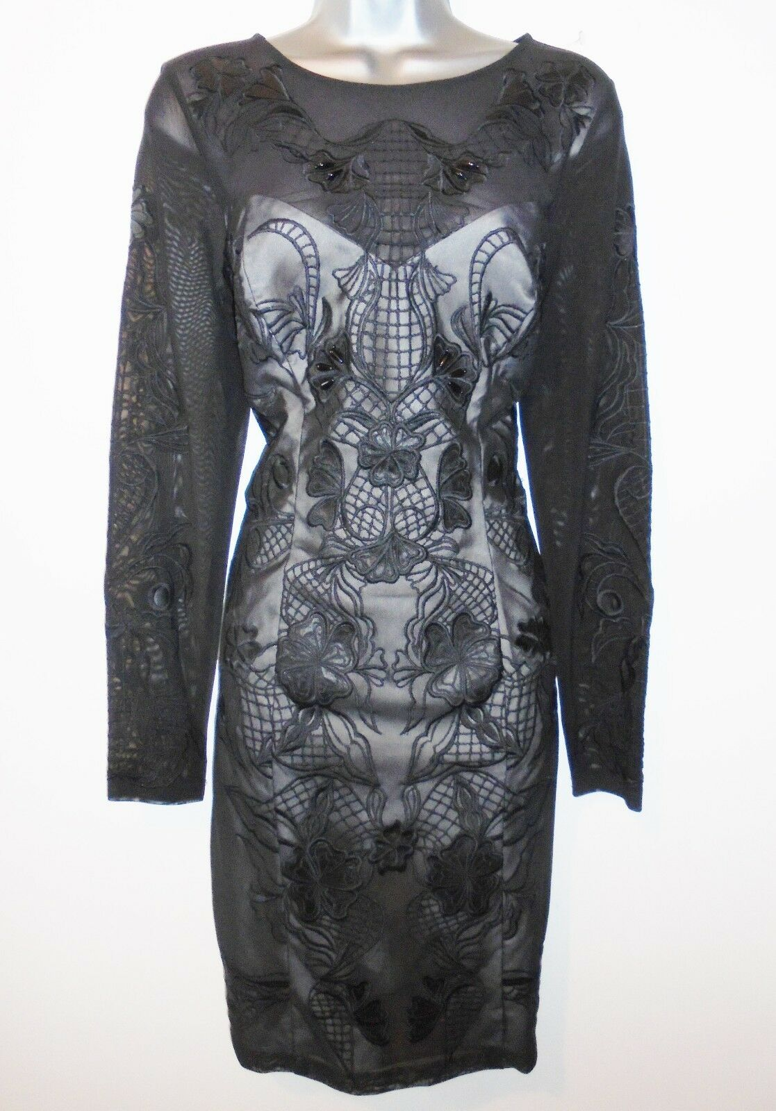 BNWT Lipsy VIP Embroidered Long Sleeve Bodycon Evening Occasion Dress NEW