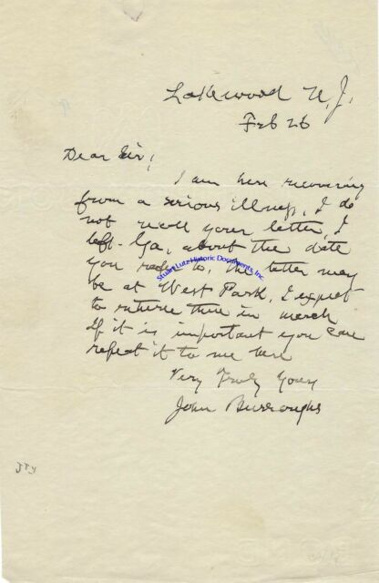 Naturalist John Burroughs signed letter re recovering from an illness