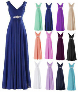 Plus-Long-Chiffon-Evening-Prom-Gown-Formal-Wedding-Party-Bridesmaid-Dreseses