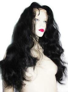 Body-Wave-Jet-Black-Front-Lace-Wig-Wigs-1-Remi-Remy-Indian-Human-Hair-Wavy