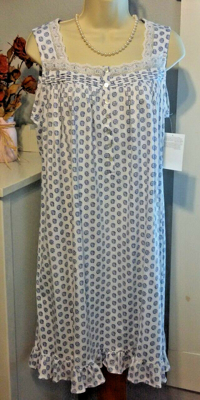 NWT S Small Eileen West Nightgown 100% Cotton Knit NEW Gown Sleeveless Ruffle