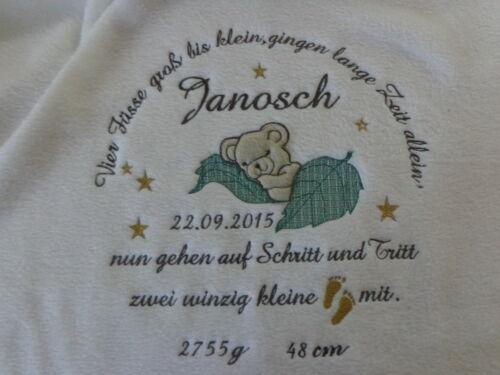 Babydecke mit Namen Datum,Taufdecke,Geburt,zur Taufe,Kuscheldecke,Decke