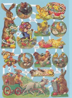 Küken 50'er Jahre Ef 7205 Herausragende Eigenschaften Hasen Oblaten Scrap Ostern Glanzbilder