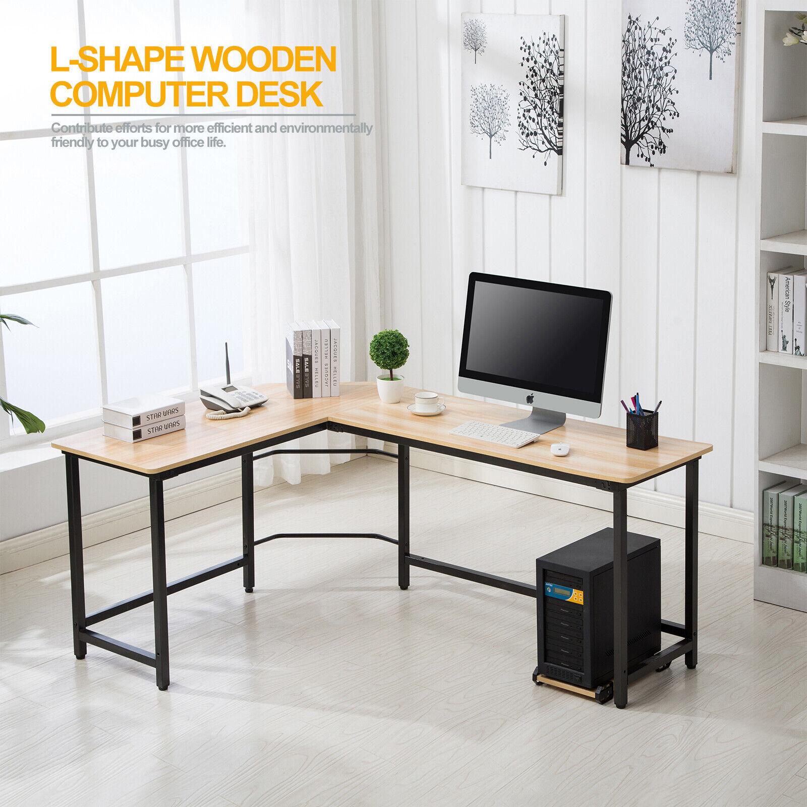 OFFICE MORE Corner L-Shape Computer Desk Glass Laptop Table