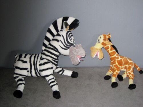 2 Peluches MADAGASCAR Zébre MARTY girafe MELMAN Haut   24//34 cm