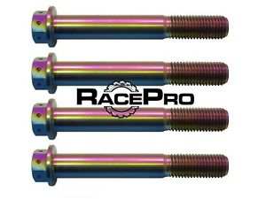 4x RacePro - Rainbow Race Drilled Titanium Caliper Bolt - Yamaha YZF R6 2008