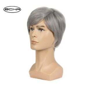 For Men Short Pixie Cut Grey Wigs Natural Synthetic Hair Short Wavy Wig Heat OK