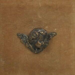 Antica-Miniatura-velluto-con-Quadro-Scultura-Putto-Angelo-Cherubino-Arte-Sacra