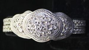GORGEOUS-Vintage-925-Sterling-Silver-Ornate-Floral-Design-Women-039-s-Bracelet