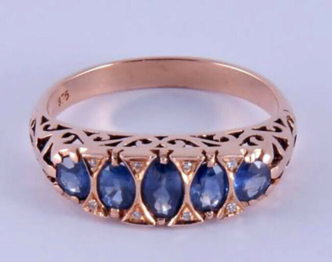 R307 Genuine 9K, 10K, 18K Solid gold Natural Sapphire & Diamond Eternity Ring