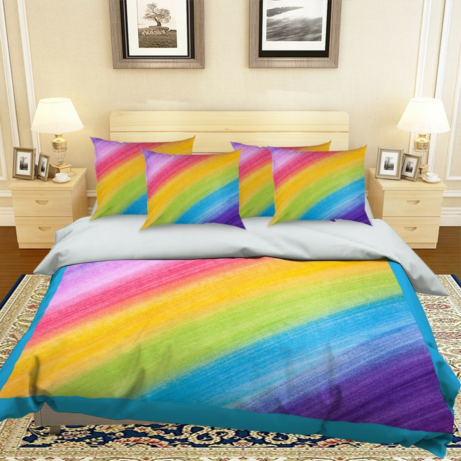 3D Farbe Rainbow 688 Bed Pillowcases Quilt Duvet Cover Set Single King UK Summer
