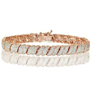 18K Rose Gold Tone 0.25ct  Natural Diamond Wave Link Tennis Bracelet in Brass