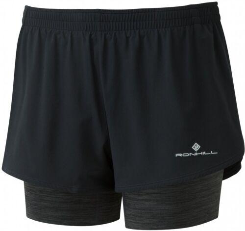 Ronhill Stride Womens Twin Running Shorts-Black