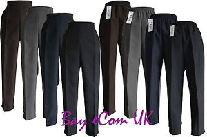New-Women-s-Ladies-Half-Elastic-Straight-Leg-Trousers-Pants-UK-Size-12-to-24