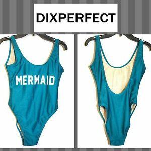 Dixperfect Retro Baywatch-Style Mermaid One-piece Swimsuit Blue Size Small
