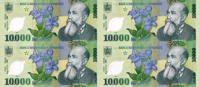 ROMANIA 10000 10,000 LEI P112 2000 UNCUT SHEET MILLENNIUM POLYMER UNC MONEY NOTE