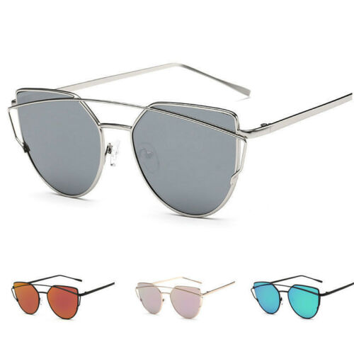 Women's Flat Lens Mirrored Metal Frame Glasses Oversized Cat Eye Sunglasses New
