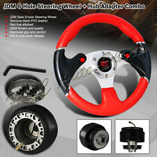 For 1996-2000 Honda Civic 320MM Red / Carbon Leather Steering Wheel + Adapter