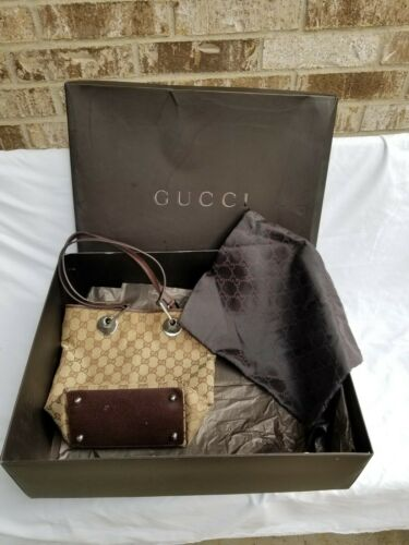 GUCCI Authentic GG Tan Brown Canvas Leather Small