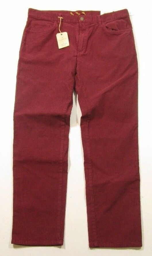 Brooks Bredhers Men's 'Red Fleece' Garment Dyed Collection Red Corduroy Pants