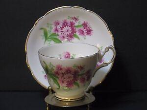 Regency-Bone-China-Tea-Cup-amp-Saucer-Set-Floral-White-Pink-amp-Gold-Trim-England