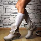 NUEVO Designer Zapatos Mujer lujo MOTO Botas Botines Hebillas Beige Negro