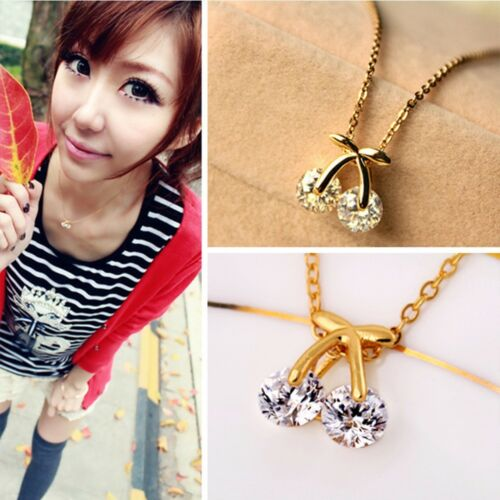 Rhinestone Cherry Necklace Pendant Sweater Chain Necklace Crystal Necklace