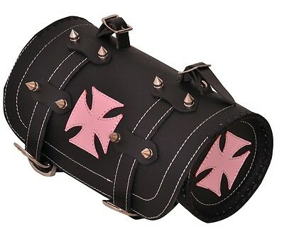 Gothic Motorcycle Biker Leather Tool Rool Black Bag with Red Iron Cross