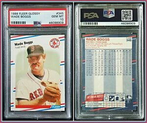 1988 Fleer Glossy #345 Wade Boggs PSA 10 Gem Mint Red Sox MLB Baseball HOF