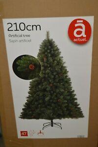 SAPIN-ARTIFICIEL-amp-POMME-DE-PIN-TREE-210-CM-PIED-METAL-NEUF-ACTUEL-47-BRANCHE