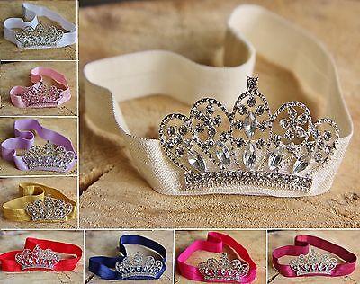 Rhinestone Crown Tiara Elastic Headband Girl Baby Photo Pro Wedding Christening