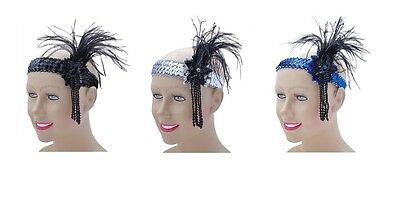 #CABARET HEADBANDS WITH FEATHERS AND SEQUINS FLAPPER DRESS ADULT ACCESSORY