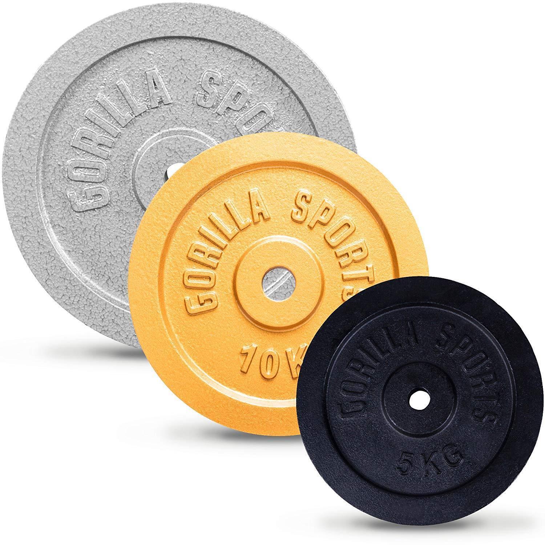 Gorilla Sports® Piastra Peso Singolarmente  Set Ghisa 1,25 30 kg 3031 mm Foro