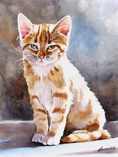 """In der Sonne"", Katze, Cat, Chat, Gato, Original Aquarell 24x32, Studio-Milamas"