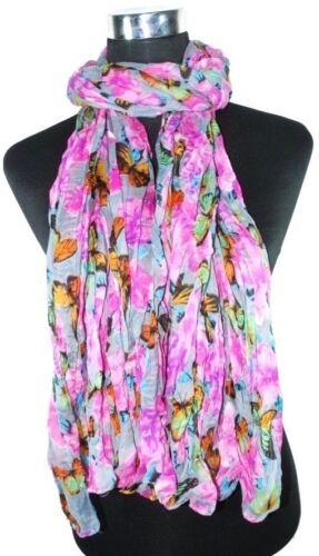 SCIARPA da DONNA sciarpa foulard farfalla fiori sgualciti-Optik discreta trasparenza