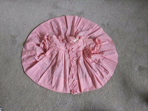 VTG 1950s Baby Dress Cotton Pink Gingham Plaid Che