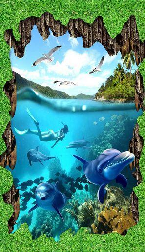 3D Grass Ocean Dolphin Floor WallPaper Murals Wall Print Decal 5D AJ WALLPAPER