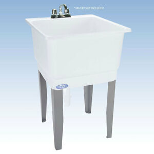 Superbe Details About Freestanding Utility Sink Laundry Tub Floor Mount Single  Faucet Wash Bowl Basin