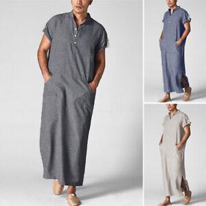 Mens-Muslim-Clothing-Saudi-Arab-Short-Sleeve-Thobe-Islamic-Kaftan-Summer-T-Shirt