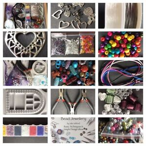 Large-Jewellery-Making-Starter-Kit-Including-Beads-Threads-Tools-Board